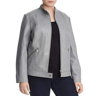 Bagatelle Women's Faux Leather Moto Jacket with Quilted Detailing