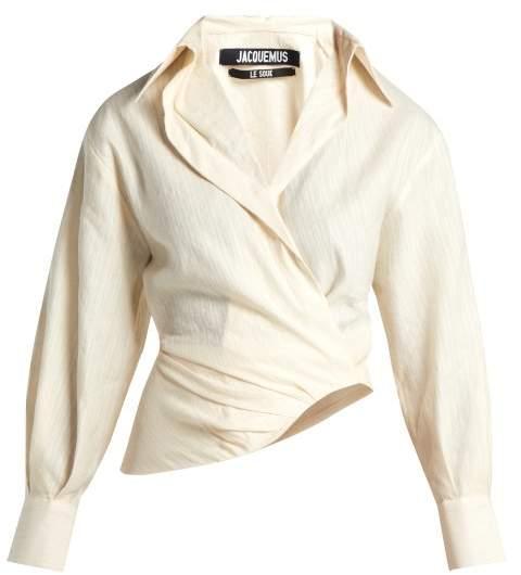 Jacquemus Sabah Linen Blend Shirt - Womens - Cream