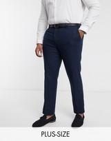Harry Brown Plus wedding tweed heritage suit trousers-Navy