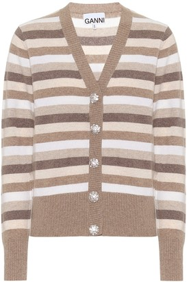 Ganni Striped cashmere cardigan