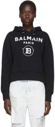 Balmain Black Cropped Flocked Logo Hoodie