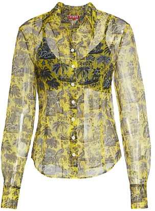 STAUD Brady Layered Tropical Print Blouse