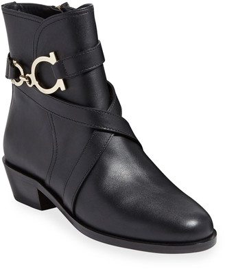 Salvatore Ferragamo Shadi Gancini Leather Booties