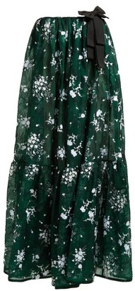 Erdem Theona Tiered Floral Chantilly-lace Gown - Green Multi