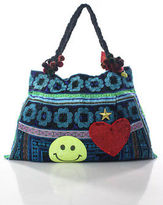 Joelle Gagnard Blue Canvas Embroidered Pom Pom Sequin Smiley Face Tote Handbag New $180