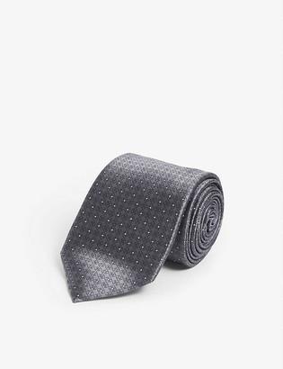 Ermenegildo Zegna Crest embroidered silk tie