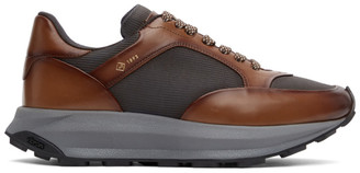 Dunhill Brown and Grey Aerial Patina Sneakers