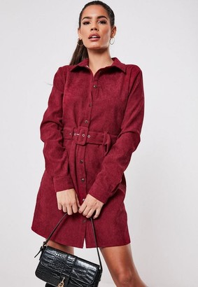 Missguided Burgundy Cord Belted Skater Dress
