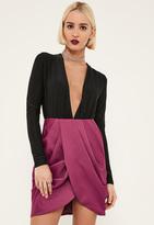 Missguided Purple Satin Pleated Waist Wrap Front Skirt
