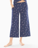 Soma Intimates Full Pajama Crop Pants Tropic Flock Navy