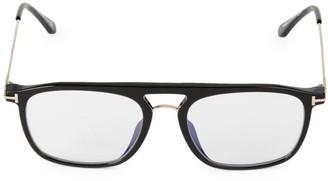 Tom Ford Blue Block 54MM Square Brow Bar Glasses