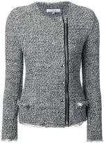 IRO collarless biker jacket - women - Cotton/Lamb Skin/Acrylic/Viscose - 36