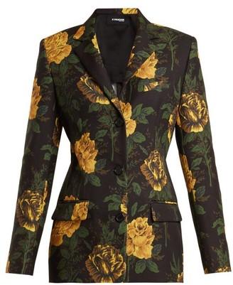Kwaidan Editions Ruscha Floral Print Single Breasted Jacket - Womens - Navy Print