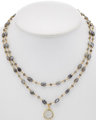 Rachel Reinhardt 14K Over Silver Labradorite & Moonstone Layered Necklace