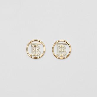 Burberry Gold-plated Monogram Motif Earrings