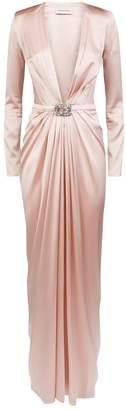 Alexandre Vauthier BeltedSilk-Blend Gown