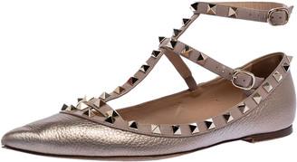 Valentino Metallic Bronze Leather Rockstud Ballet Flats Size 39.5