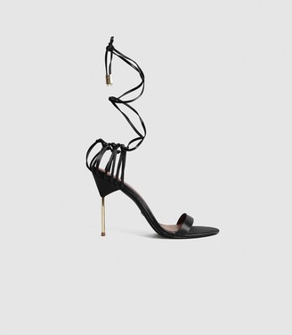Reiss ZHANE SATIN STRAPPY WRAP SANDALS Black