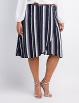 Charlotte Russe Plus Size Striped Wrap Skirt