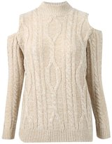 Momo&Ayat Fashions Ladies Cold Shoulder Turtle Neck Cable Knitted Jumper Sweater CA Size 6-14