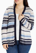 Stripe Drape 3/4 Sleeve Cardigan