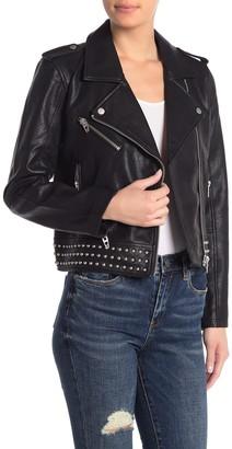 Blanknyc Denim Studded Waistband Faux Leather Moto Jacket