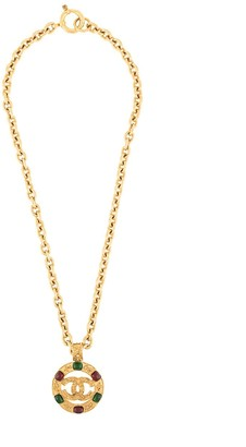 Chanel Pre Owned 1994's CC logos bijou medallion gold chain pendant necklace