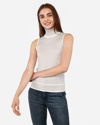 Express Ribbed Sleeveless Tipped Turtleneck Sweater