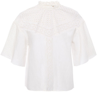 Joie Kamlei Ruffle-trimmed Broderie Anglaise Linen Top