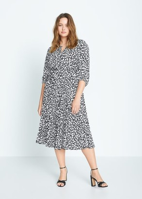 MANGO Violeta BY Midi printed dress black - 10 - Plus sizes
