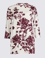 Classic Floral Print Funnel Neck 3/4 Sleeve Tunic