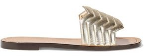 Nicholas Kirkwood Metallic Quilted Leather Slides