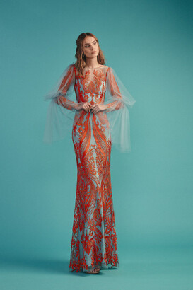Beside Couture by GEMY Color Block Embroidered Gown