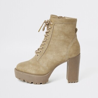 River Island Womens Beige lace-up chunky high heel hiker boots