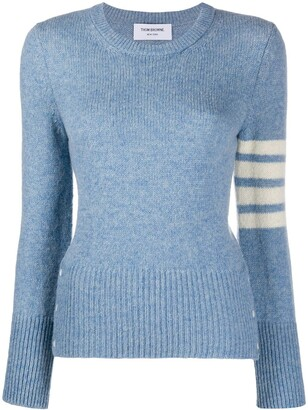 Thom Browne Jersey Stitch Classic Crew Neck Pullover w/ 4 Bar In Shetland Wool