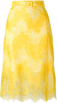 Carven belted lace skirt