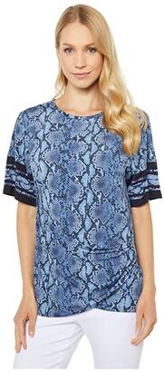 MICHAEL Michael Kors Snake Border Tie Shirt (Chambray) Women's T Shirt
