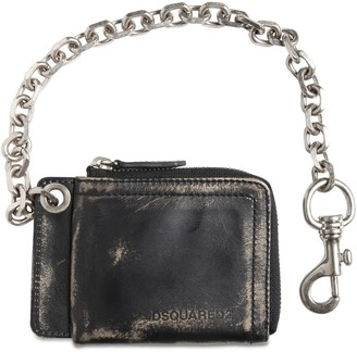 DSQUARED2 Vintage Leather Wallet W/ Chain