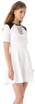 Yigal Azrouel Cut25 by Ponte Dress with Leather Shoulders