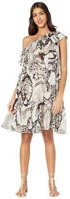 Stella McCartney Horse Print One Shoulder Dress (Natural/Grey) Women's Dress