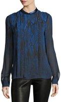 Elie Tahari Terri Long-Sleeve Pleated Snakeskin-Print Silk Blouse