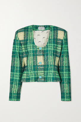 ROWEN ROSE Cropped Checked Wool-boucle Jacket - Green