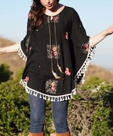 Ananda's Collection Women's Blouses BLACK - Black Floral Patchwork Tassel-Trim Poncho - Juniors