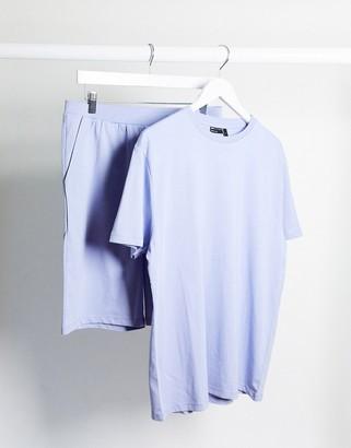 ASOS DESIGN lounge t-shirt and short pyjama set in lilac