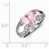 jewelryPot Sterling Silver Rhodium Plated 0.3IN and Clear Synthetic CZ Heart Ring (0.3IN x 0.1IN )