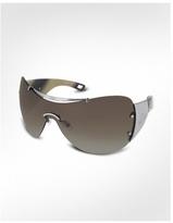 Diorito 1 - Top Signature Bar Metal Shield Oversized Sunglasses