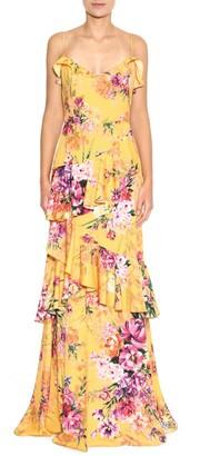 Marchesa Notte Floral Print Crepe Gown