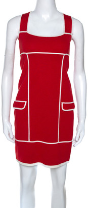 Diane von Furstenberg Red & White Knit Glorioso Shift Dress XS