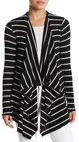 Chaser Draped Open Front Striped Cardigan