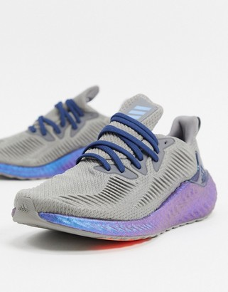 adidas alphaboost sneakers in gray with iridiscent sole
